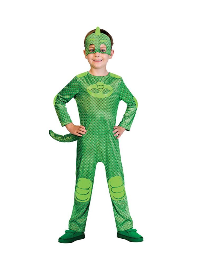 geggo PJ Masks pyjamasheltene gekko kostume til børn grøn pyjamashelt kostume til børn gekko grønt kostume