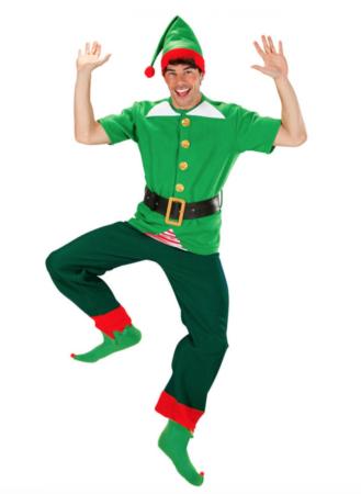 julemandens hjælper kostume 329x450 - Alfe kostume til voksne