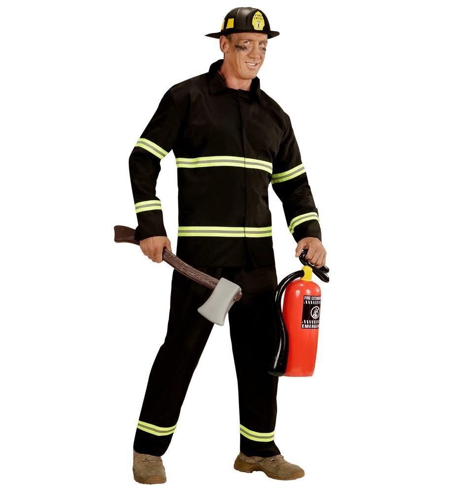 brandmand kostume til voksne sort brandmand uniform kostume udklædning