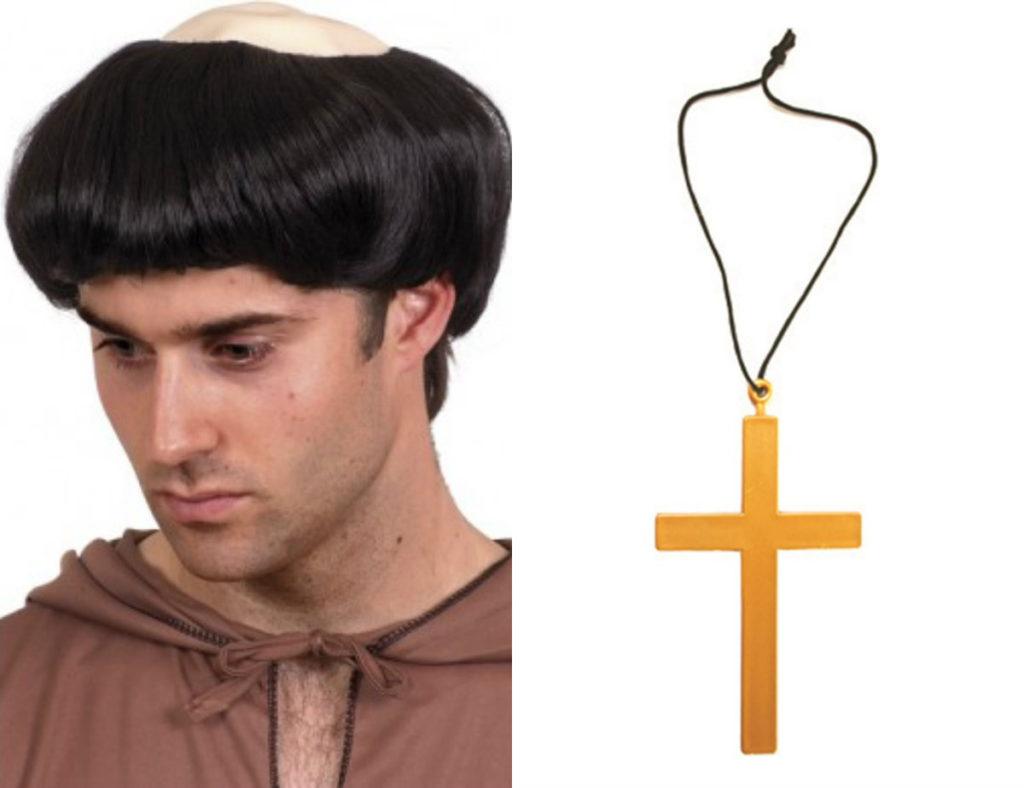 munke kostume tilbehør kors til munkekostume munkekors munk paryk munkeparyk