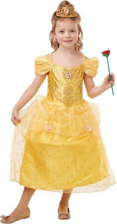belle kostume til piger belle udklædning disney kostume til piger gul prinsessekjole 5 år