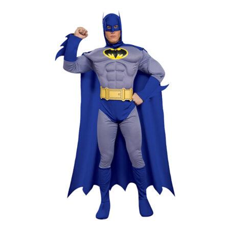 batman brave-and bold kostume med muskler blå batman kostume til voksne
