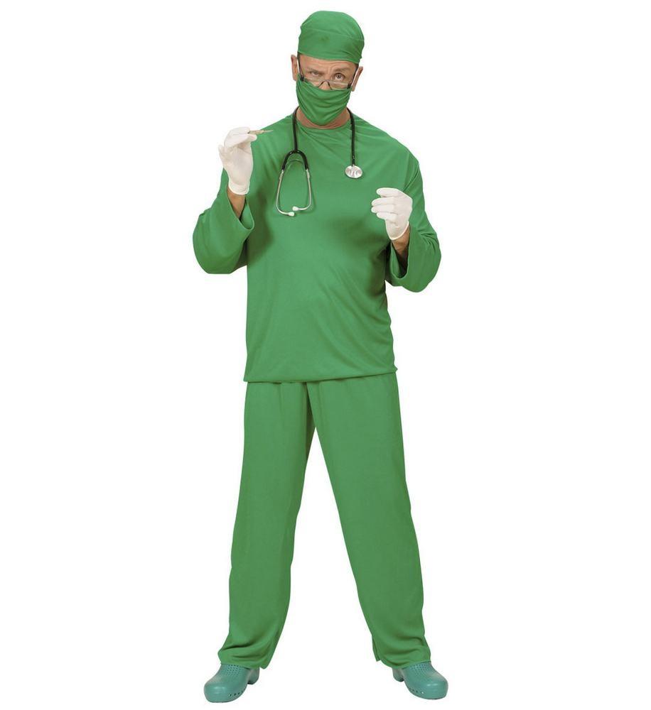 læge kostume til voksne lægekostume kirurgkostume livredderudklædning fastelavnskostume til voksne lægekittel kostume lægeuniform udklædning grøn kirurg