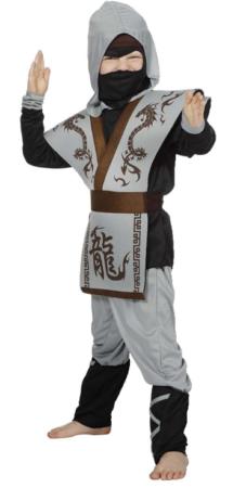 lille grå ninja børnekostume