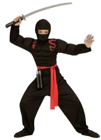 ninja kostume med muskler ninja børnekostume