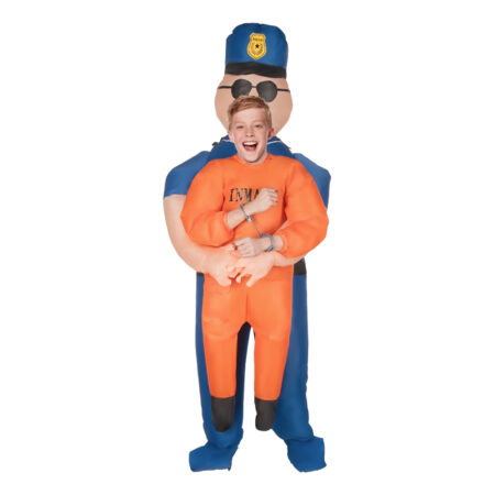 oppusteligt fange kostume til børn politi og røver kostume til barn