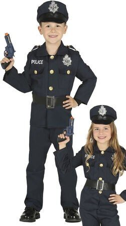 politi kostume til børn politi børnekostume sort uniform fastelavnskostume halloween kostume til børn