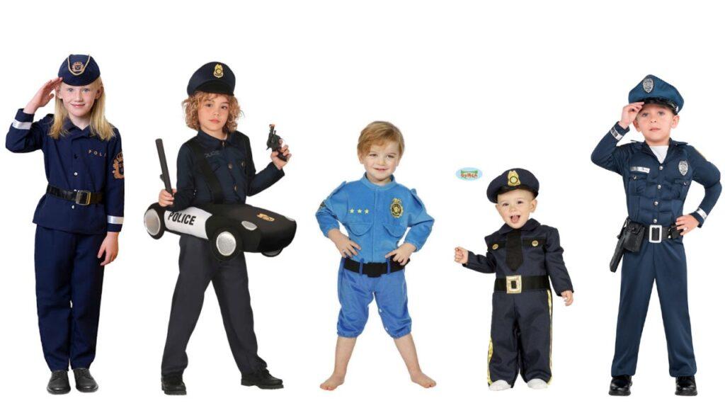 politimand kostume til børn politibetjent kostume til børn pige politibetjent udklædning baby uniform kostume fastelavnskostume politi uniform