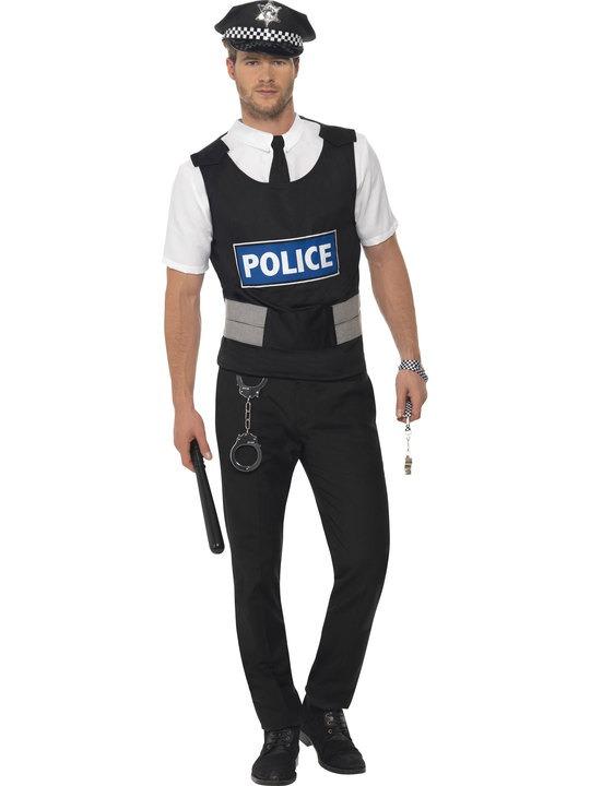 politimand kostume til voksne politibetjent kostume politiuniform kostume politibetjent udklædning fastelavn ordensmagten kostume