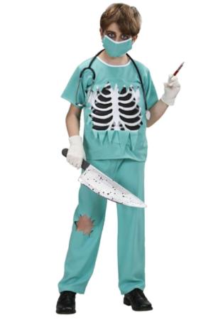 skelet kirurg halloween læge kostume til barn