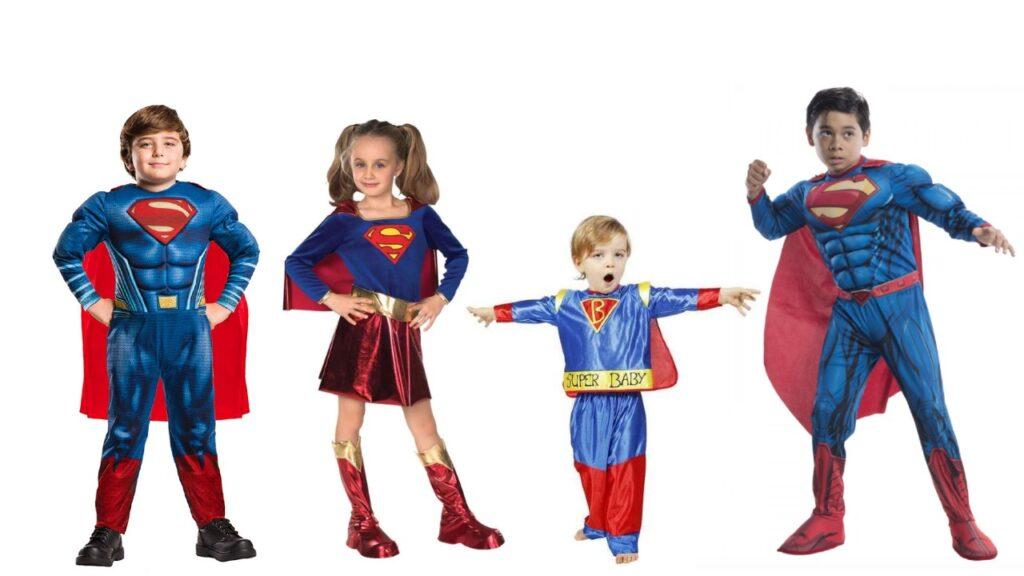 superman kostume til børn superman børnekostume superhelt børnekostume stålmand kostume supergirl kostume til piger superhlt med kappe udklædning