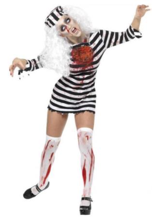 zombie fange kostume til voksne halloween kostume til kvinde sort hvidt kostume til kvinder