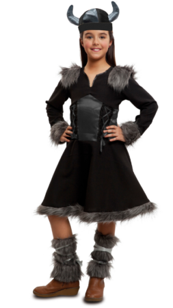 vikingepige kostume vikingepige udklædning sort biking kostume til børn