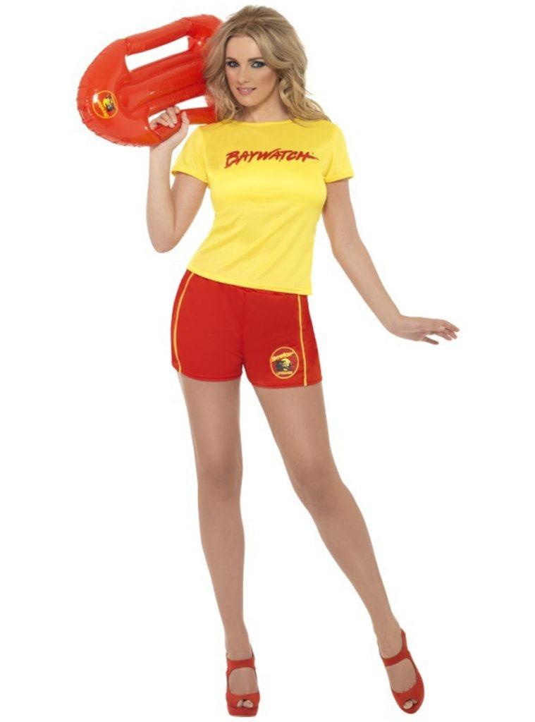 baywatch kostume matt kostume livredder kostume røde shorts gul tshirt kvindelig livredder