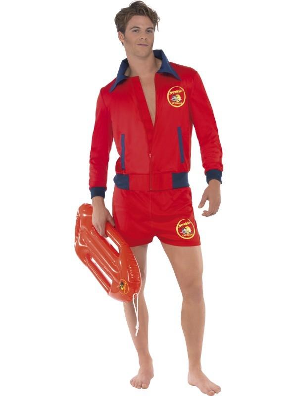 baywatch kostume matt kostume livredder kostume røde shorts rød jakke rød livredderbøje