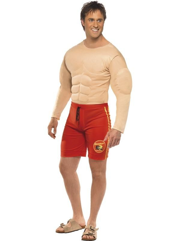 baywatch kostume matt overdel sjovt kostume røde shorts og strandløve overdel