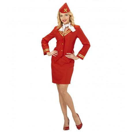 stewardesse kostume til voksne stewardesse uniform udklædning pige sidste skoledag udklædning karnevalskostume rød stewardesse
