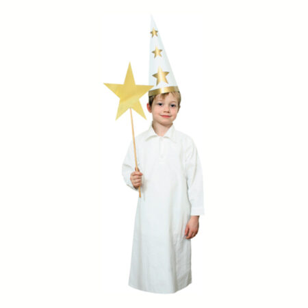 lucia kjole dreng stjernedreng kostume lang hvid kjole kostume