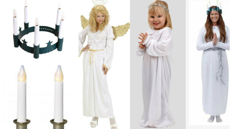 santa lucia kjole til børn luciakjole til børn luciaoptog kjole lysestager til lucia optog