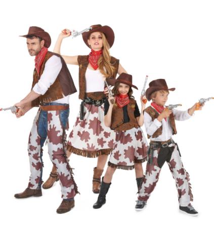 cowboy familie kostume cowboy temafest udklædning cowboy tøj cowboy forklædning