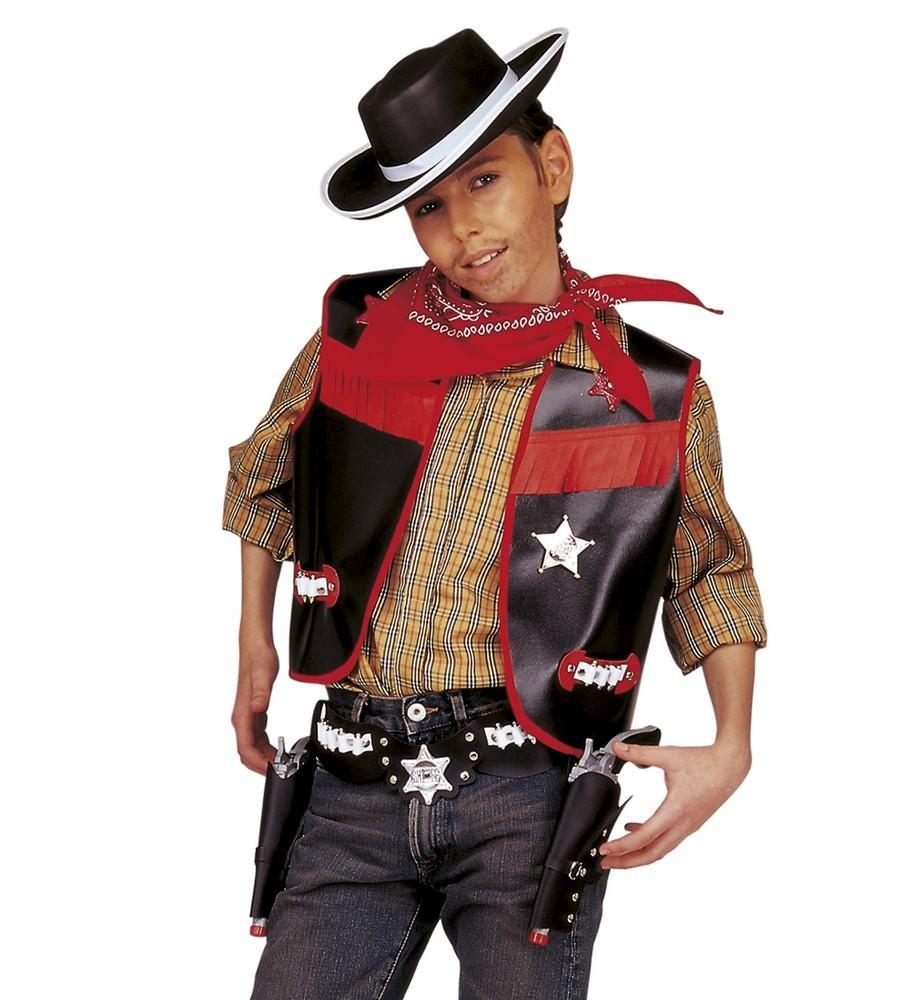cowboy kostume til børn cowboy børnekostume cowboy sæt sort vest western kostume det vilde vesten fastelavnskostume fastelavnsudklædning billig kostume til piger amerikansk kostume