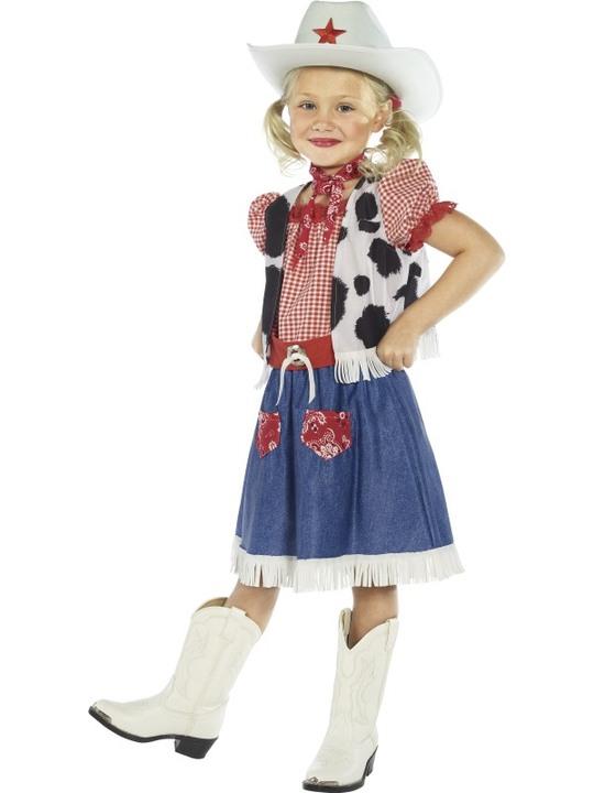 cowboy kostume til børn cowgirl kostume piger cowboy børnekostume rodeopige kostume fastelavnskostume fastelavnsudklædning billig kostume til piger amerikansk kostume historisk kostume
