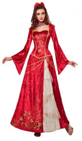 renæssance prinsesse kostume rød prinsesse kjole udklædning til voksne