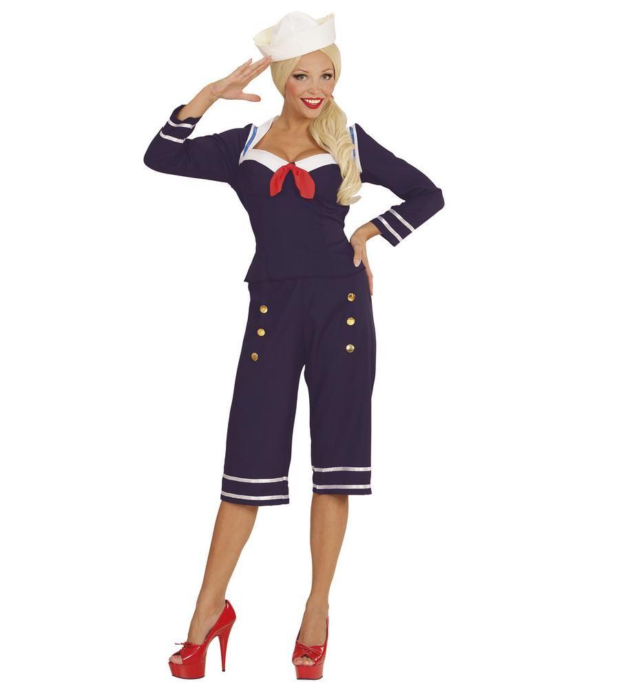 sømandskostume til voksne sømand kostume til voksne sejler pige 50'erne stil sømandstemafest sejlerkostume udklædning