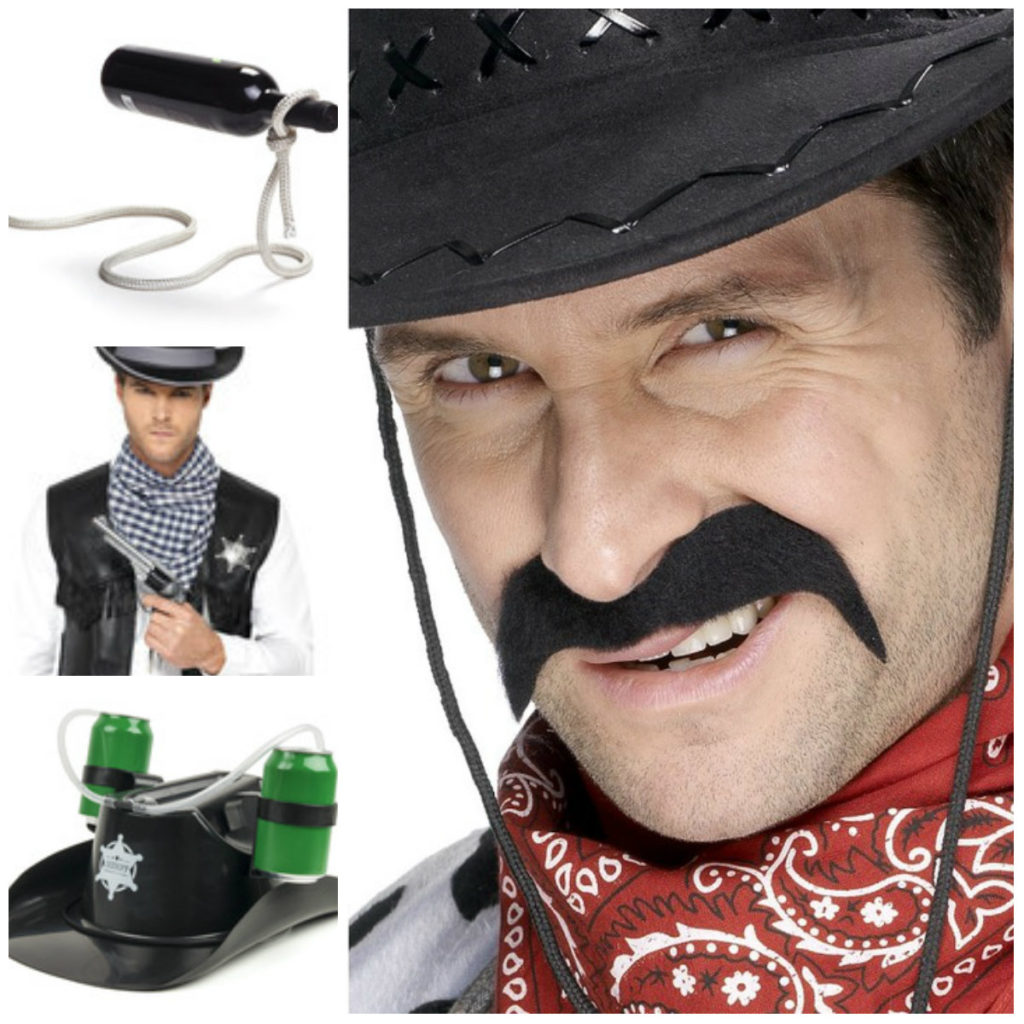 tilbehør til cowboy kostume til voksne cowboy overskæg cowboy lasso cowboy pistol cowboy hat kostume cowboy sæt udklædning