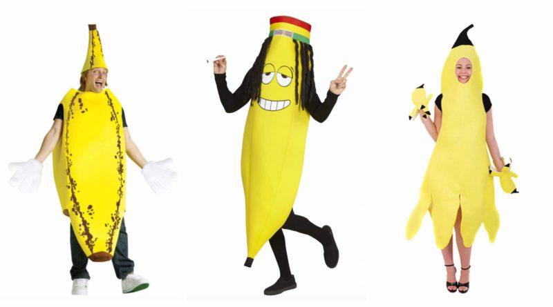 banan kostume til voksne, banan udklædning til voksne, banan kostumer, banankostume, bananer i pyjamas kostume, sjovt kostume til fastelavn, fastelavnskostume til voksne