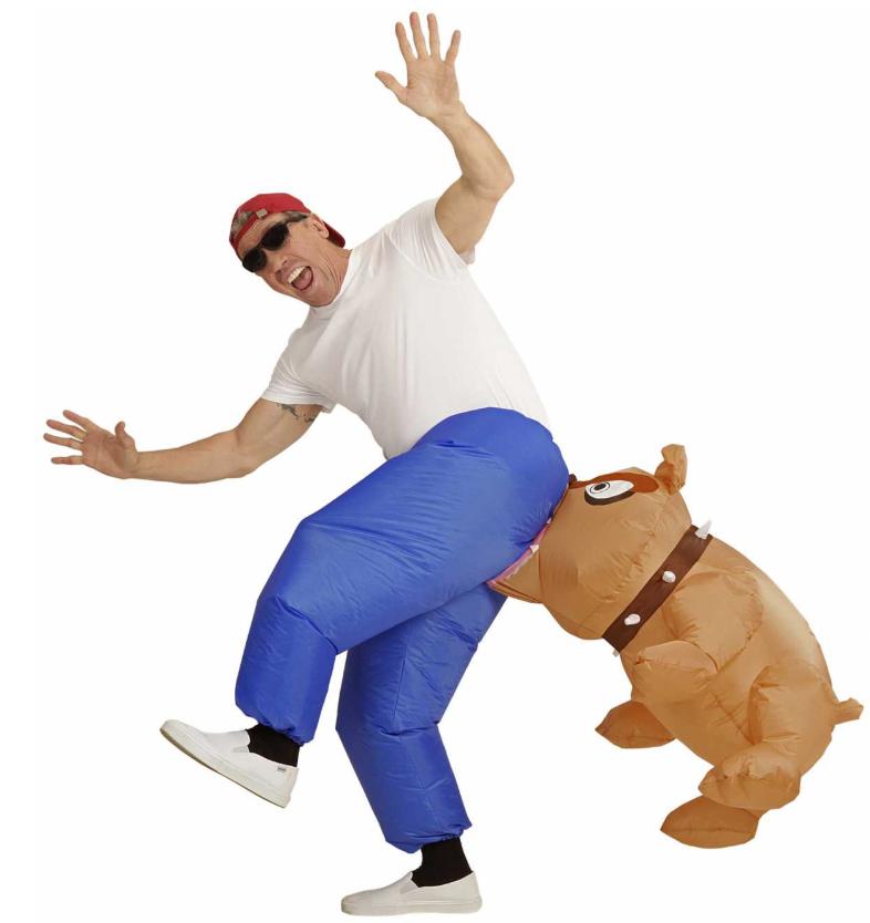 hundekostume til voksne hund udklædning bulldog oppustelig kostume hund voksenkostume kostumeuniverset
