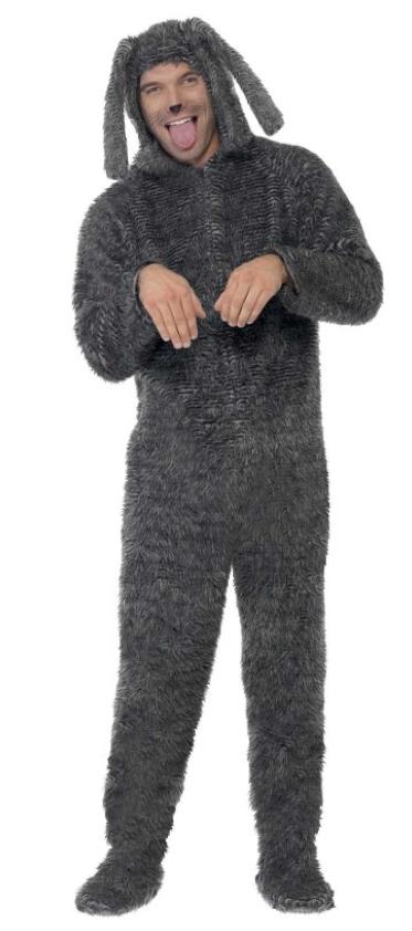 hundekostume til voksne hund udklædning grå hund voksenkostume kostumeuniverset