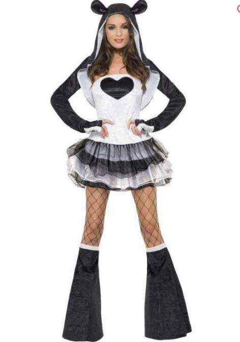 panda kostume til voksne pandakostume til kvinder panda udklædning voksnekostume sort kostume kostume dyrekostume truet dyreart kostume kinesisk kostume