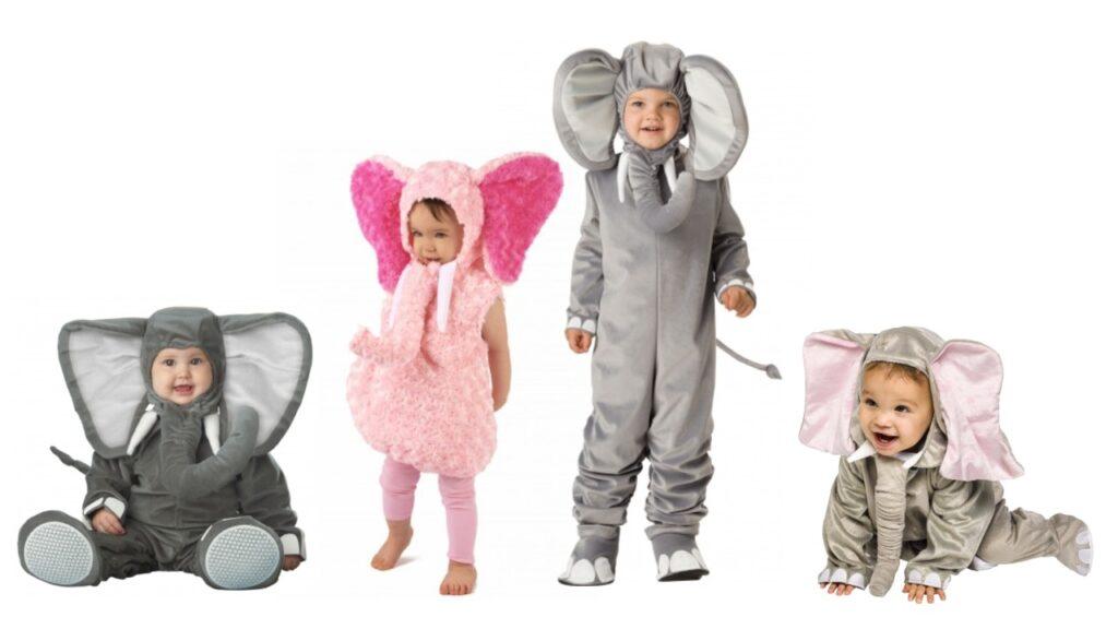 elefant babykostume elefant børneekostume elefant fastelavnskostume udklædning afrika dyr grå elenfat lyserød elefant varmt kostume til baby