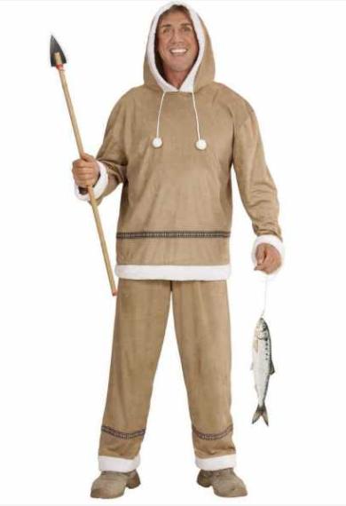 eskimo kostume til voksne brun mand eskimo fastelavnskostume til voksne grønland kostume fanger kostume arktisk kostume