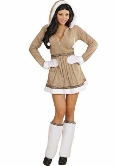 eskimo kostume til voksne brun pige eskimo fastelavnskostume til voksne grønland kostume fanger kostume arktisk kostume