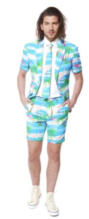 flamingo jakkesæt med shorts sommer jakkesæt