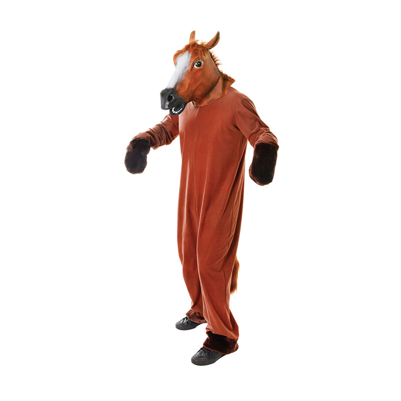 hest kostume til voksne hestekostume til voksne fastelavnskostume til voksne dyrekostume hestehoved udklædning heldragt all over hestekostume