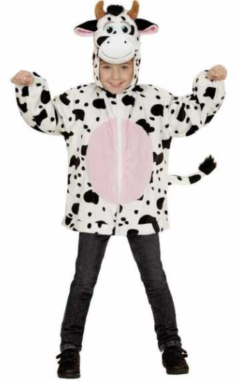 ko kostume til børn ko hættetrøje ko fastelavnskostume ko børnekostume kostumeuniverset sort og hvidt kostume ko udklædning til børn