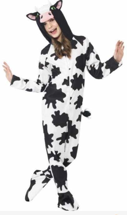 ko kostume til børn ko med yver ko fastelavnskostume ko børnekostume kostumeuniverset sort og hvidt kostume ko udklædning til børn unge