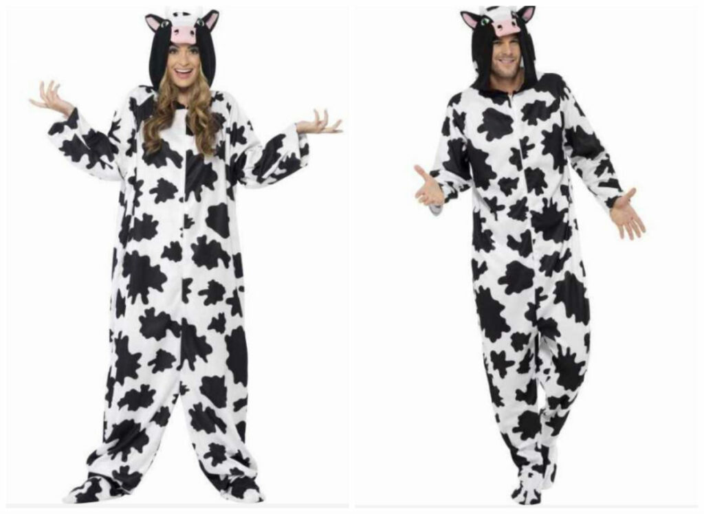 ko kostume til voksne ko jumpsuit ko heldragt til voksne ko kogurumi kostume ko udklædning unisex ko fastelavnskostume ko sidste skoledag udklædning