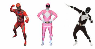 power ranger kostume til voksne power rangers kostume til voksne heldragt udklædning power rangers morphsuit blå sor rød power ranger