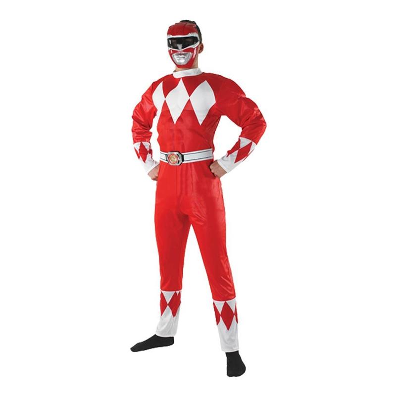 power ranger kostume til voksne power rangers kostume til voksne heldragt udklædning power rangers morphsuit rød power ranger go go power rangers
