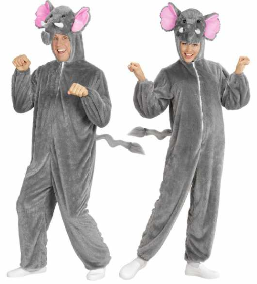 voksenkostueme elefant kostume elefantkostume til voksne elefant fastelavnskostume elefant udklædning til voksne plys heldragt