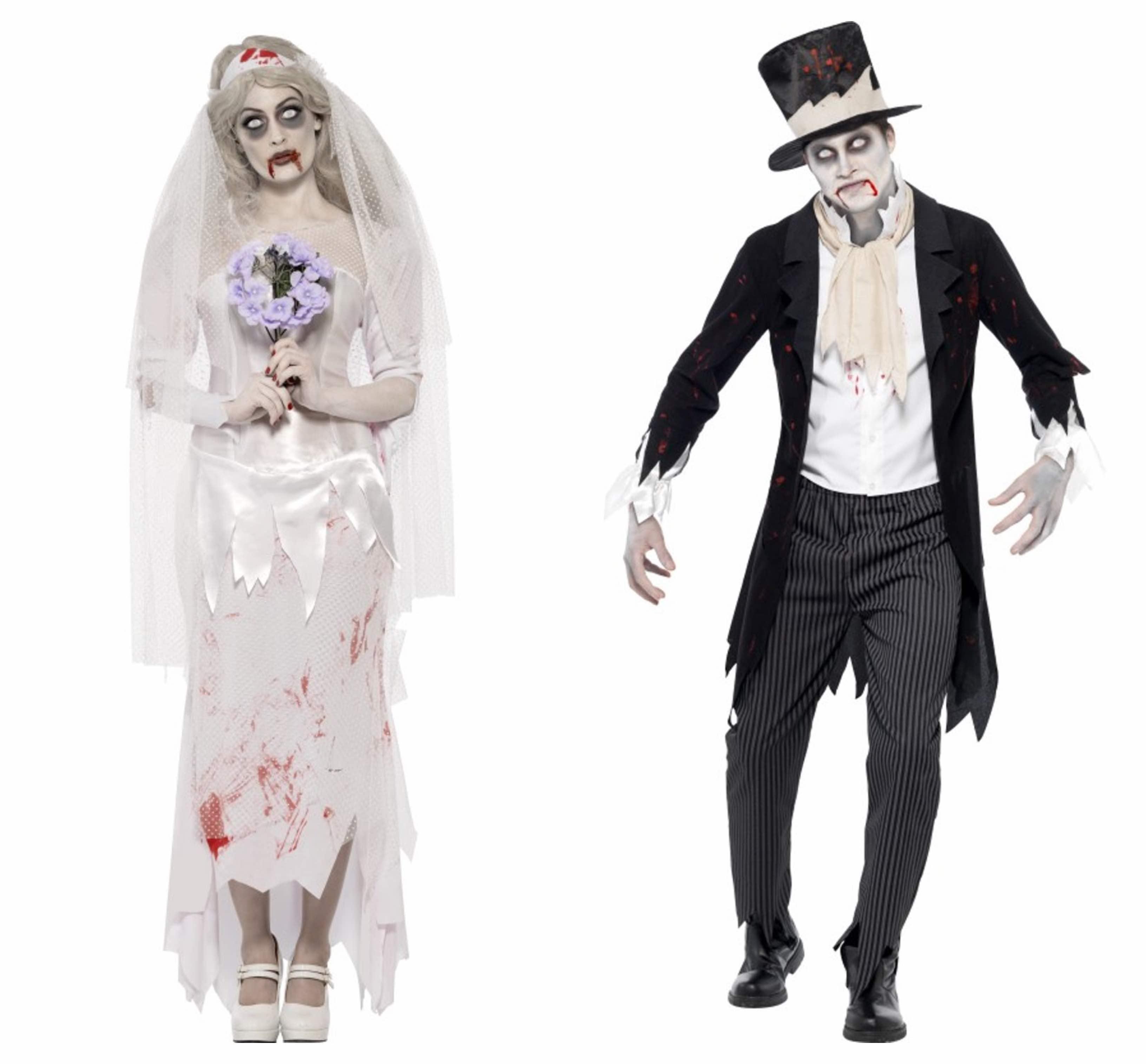 zombie-brud-og-gom-par-kostume-til-voksne - KostumeUniverset