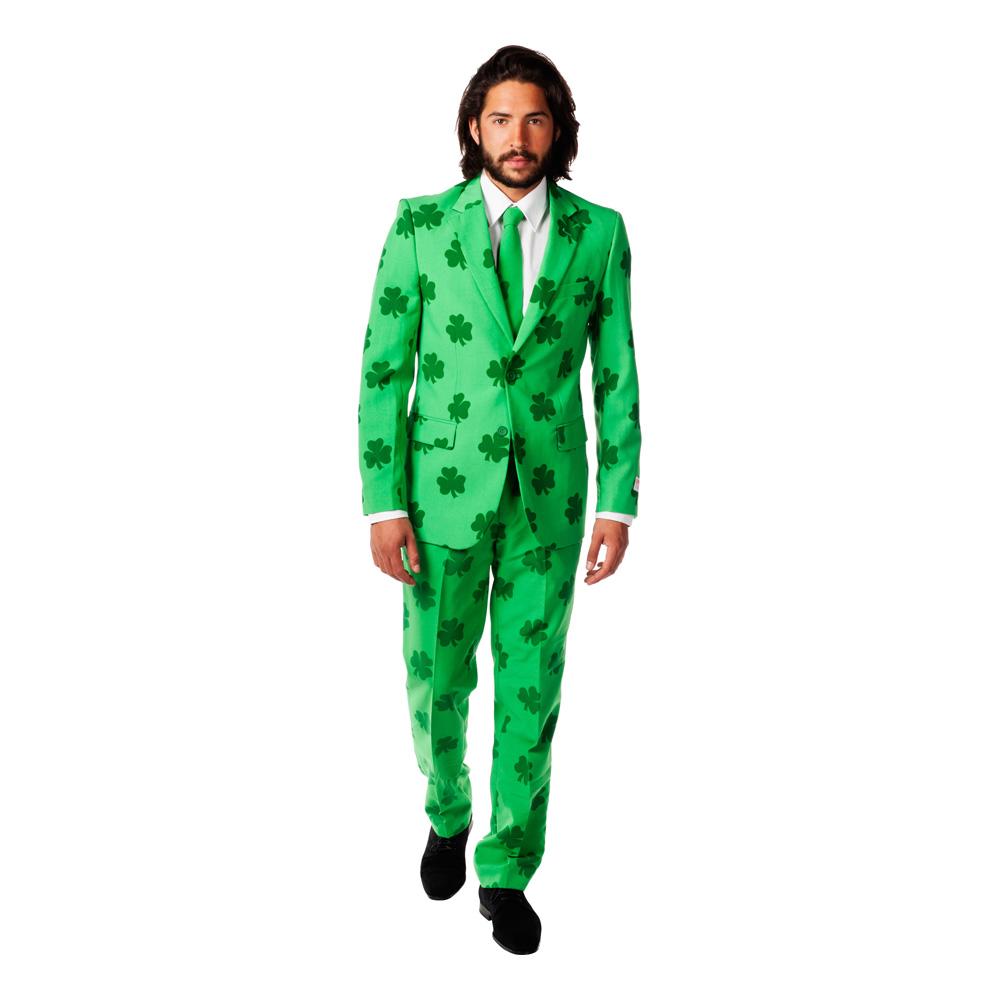 opposuits sankt patrick kostume sankt patricks day udklædning sankt patricks dag kostume grønt jakkesæt med 3 kløverprint