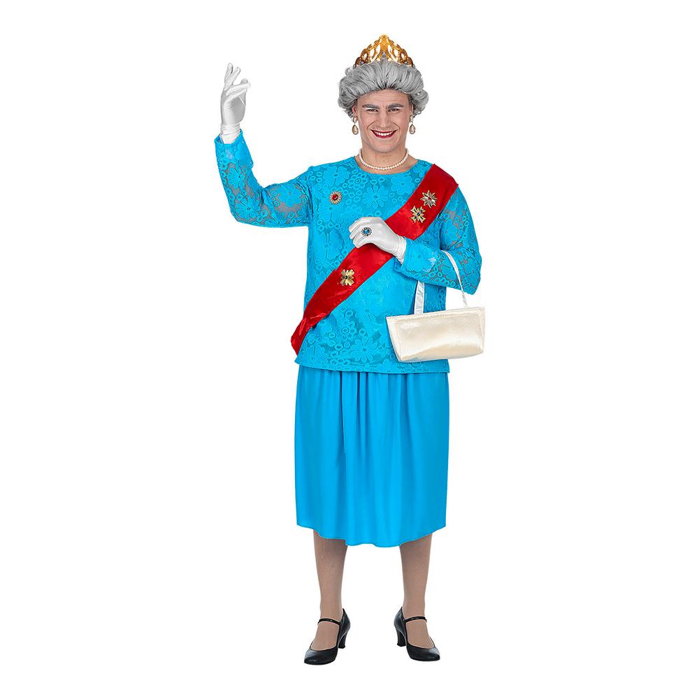 Mandlig Queen Elizabeth Kostume - Dragqueen kostume til polterabend eller karneval
