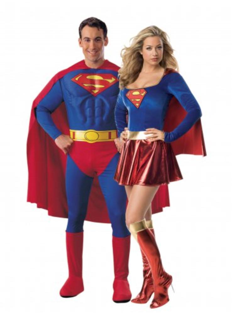 Superman og supergirl kostume til voksne - Par kostumer til Karneval