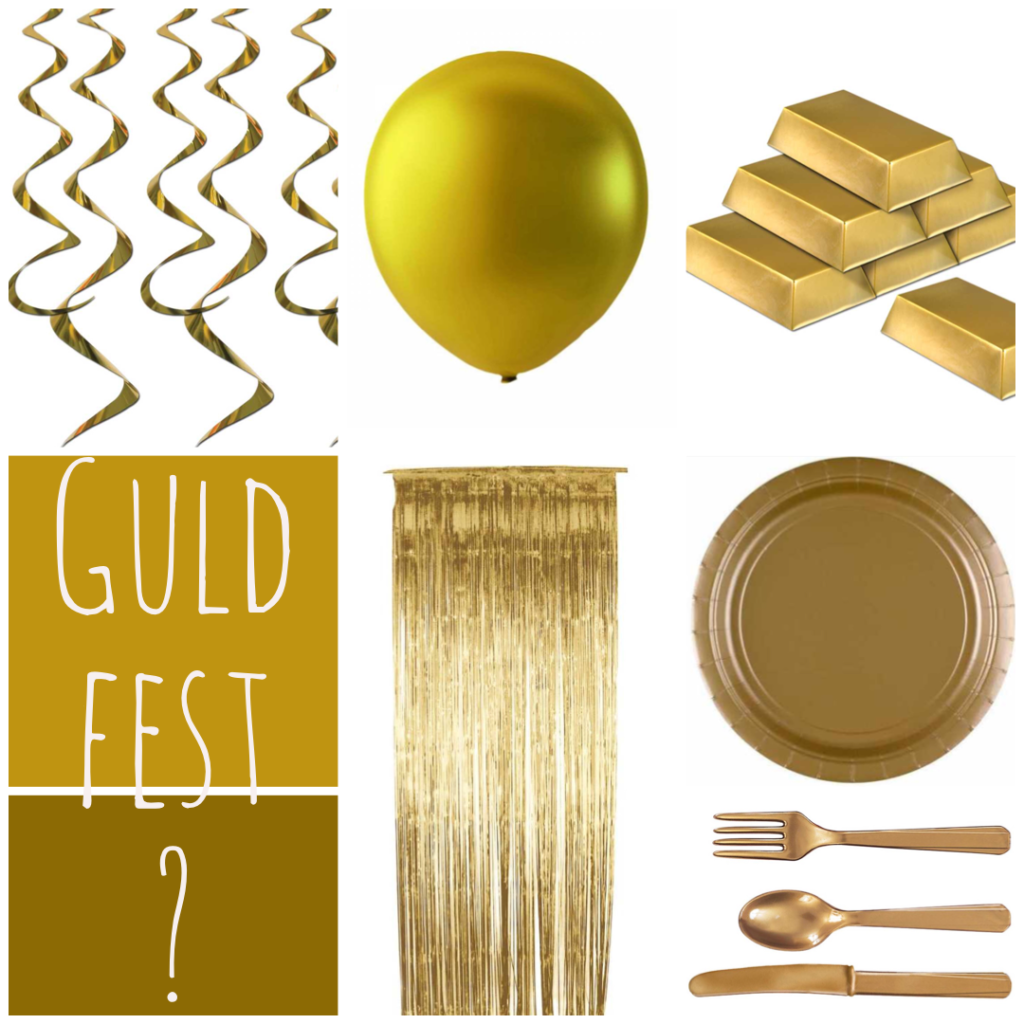 guldfest festtema guldpynt guld dekoration guld bord gyld borddækning