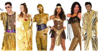 guld kostume guldfarvet kostume guldfest kostume